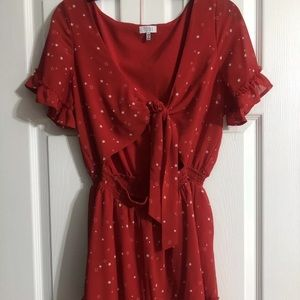 Tie front red star romper size large